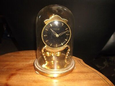 Vintage Elegant Brass Anniversary Clock & Dome Cover Kundo Black Face Overwound