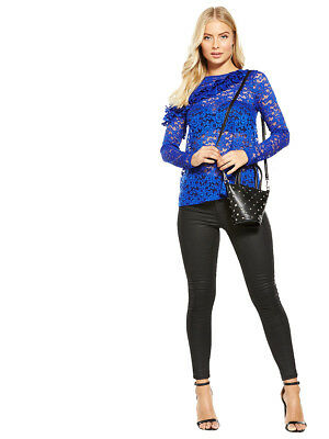 V by Very Frill Front Lace Top in Electric Blue Size 10