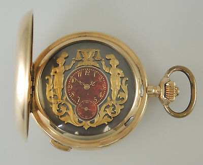 Large 14K Gold Quarter Repeater with AUTOMATA. Hunter c1896.