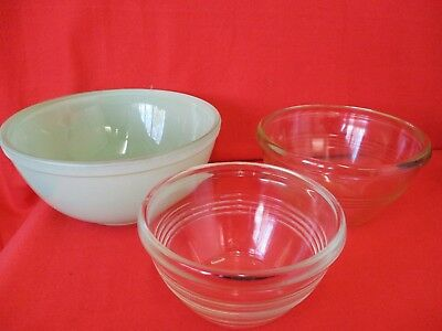 Mixing Bowls X 3 Green & Clear Glass Mismatched Kitchenware Pyrex