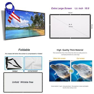 Irunning 120 Inch Projector Screen, 16:9 Hd Foldable Portable Projection Movies