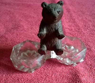 Antique Black Forest Hand Carved Bear With Double Cut Glass Salt.
