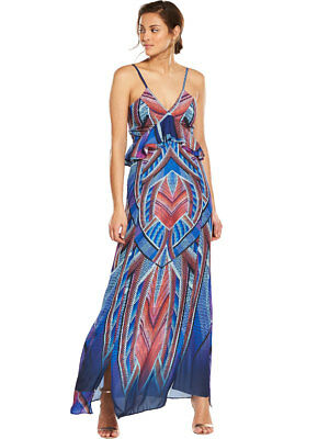 V by Very Ruffle Front Printed Maxi Dress in Print Size 8