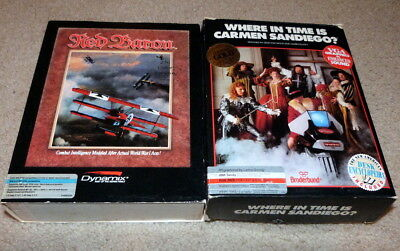 Lot of 2 Vintage Software Titles -RED BARON and WHERE IN TIME IS CARMEN SANDIEGO