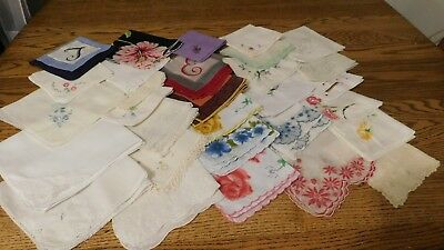 Mixed Lot 30 Ladies Vtg Handkerchiefs Hanky's Hankies Cottons Rule