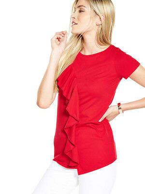 V by Very Asymmetric Frill Top in Red Plus Size 18