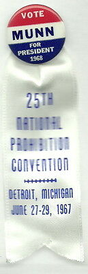Prohibition Party 1968, Harold Munn For President Pin And Ribbon