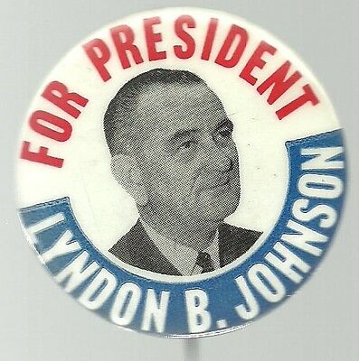 LYNDON B. JOHNSON FOR PRESIDENT CLASSIC 1960s DESIGN POLITICAL PIN