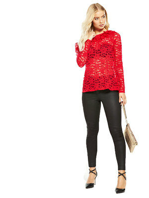 V by Very Frill Front Lace Top in Red Size 12