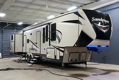 New 2018 Forest River Sandpiper 369SAQB Fifth Wheel Rear Bunkhouse Camper RV