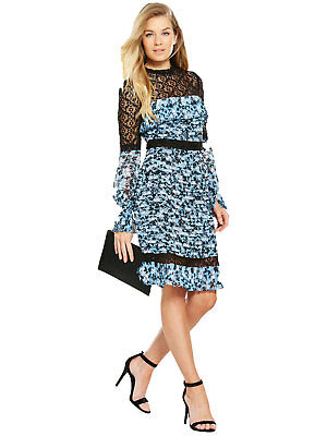 V by Very Pintuck Printed Lace Frill Dress in Black Print Size 10