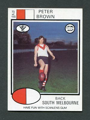 """Scanlens Gum 1975 """"rugby League - #72 Peter Brown (S Melbourne)"""" Trade Card"""
