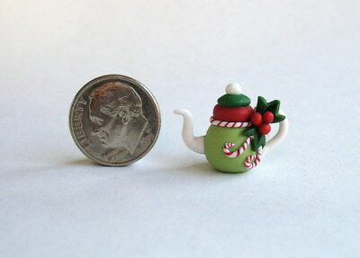 Handmade Miniature FAIRY CHRISTMAS  HOLLY & CANDY CANE TEAPOT - OOAK C. Rohal