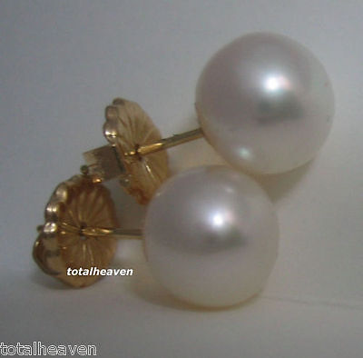 AAA 3-4mm High Luster Black Cultured Pearl Stud Earrings Sets14k Yellow Gold TPJ