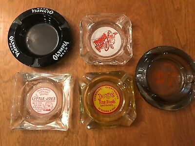 Vintage advertising lot ashtrays BOBS BIG BOY DENNYS OLYMPIA LITTLE JOES LA
