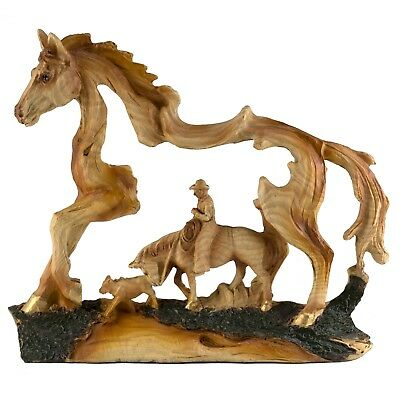 Cowboy and Horse w/Calf Faux Carved Wood Look Figurine Resin 7 Inch Long New!