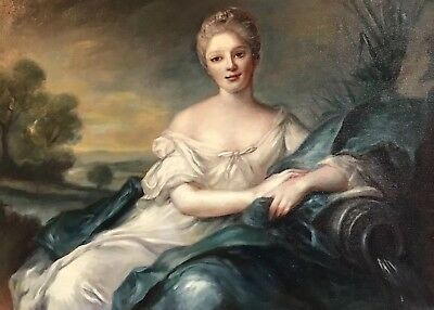 Atelier Dagher Large Oil Painting - French Rococo Elegant Lady Classical Landscp
