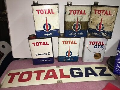 COLLECTION TOTAL 6 BIDONS HUILE 1 PLAQUE PUB AUTOMOBILIA 2 temps super GTS HD