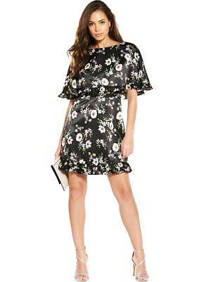 V By Very Frill Cape Dress In Print Size 14