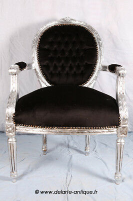 Louis Xvi Arm Chair French Style Chair Vintage Furniture Black And Silver