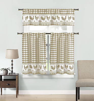 Plaid Gingham Checkered Rooster 3 Piece Set Kitchen Window Curtain Tier Valance
