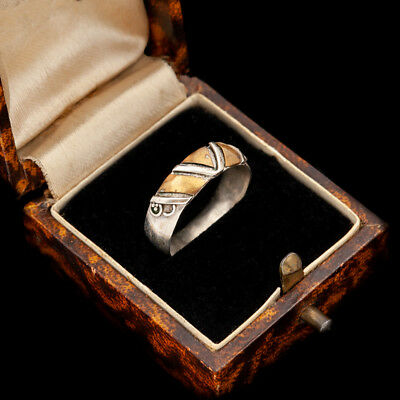 Antique Vintage Art Deco Mid Century Sterling Silver Gold Wash Band Ring Sz 6.75