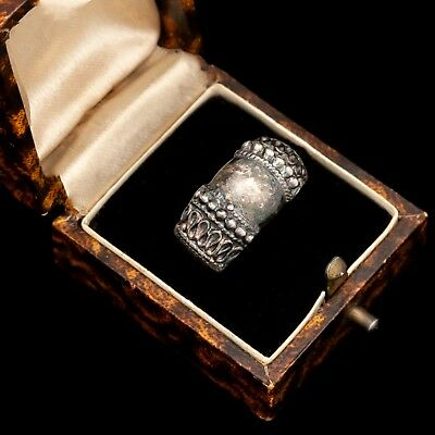 Antique Vintage Art Deco Sterling 925 Silver Byzantine Bali Band Ring Sz 6.5