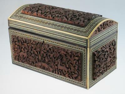Large Antique 19th Century Anglo Indian Sandalwood Tea Caddy Circa 1860