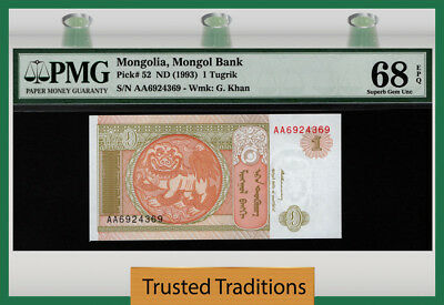 "Tt Pk 52 1993 Mongolia Mongol Bank 1 Tugrik ""chinze"" Pmg 68 Epq Superb Gem Unc!"
