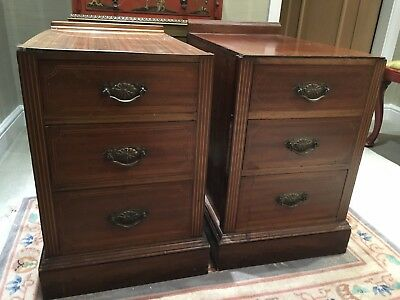 Pair Of Antique Mahogany Bedside Cabinets In Need Of Restoration