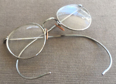 Antique Pair of Eye Glasses Spectacles Readers Silver Metal Curved Eyeglass OLD