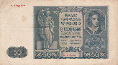 50 Zlotych Very Fine Banknote From German Occupied Poland 1941!!pick-102!