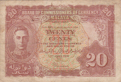 20 Cents Fine Banknote From British Malaya 1941!pick-9!!!