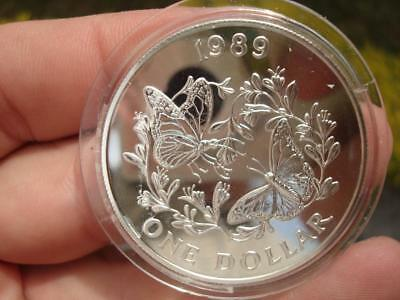 1989 BERMUDA One Dollar Monarch Conservation Project Silver Coin KM#61a