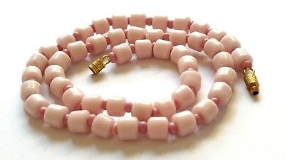 Czech Pink Tube Girls Glass Bead Necklace