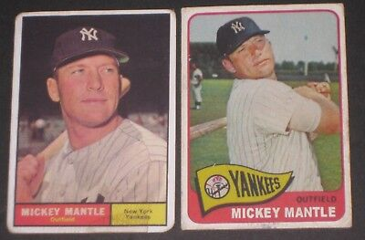 1961/65 Topps MICKEY MANTLE Baseball Card Lot New York Yankees READ LISTNG