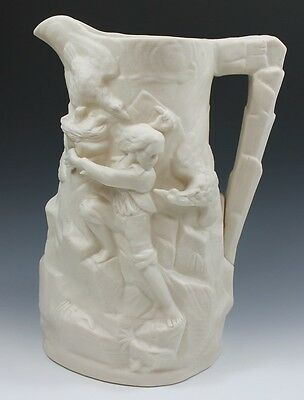 Large Antique Parian Pitcher Boys Being Attacked Stealing Eagle Eggs