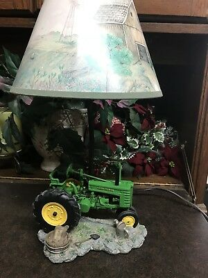 "1999 JOHN DEERE 16"" tall Table Lamp Light /Desk Lamp Tractor with Shade"