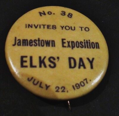 Antique Jamestown Va. Anniversary 1907 Exposition Rare Elks Celluloid Pin Backs