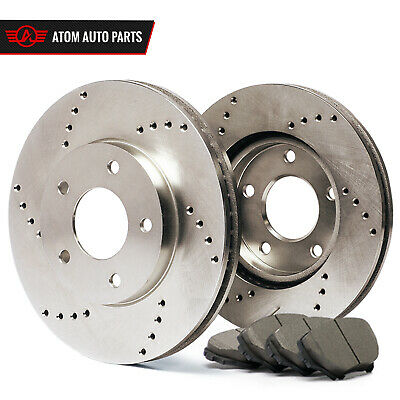 Front Rotors w/Ceramic Pads Drilled Brakes 1994 - 1999 Ram 2500 2500HD 3500