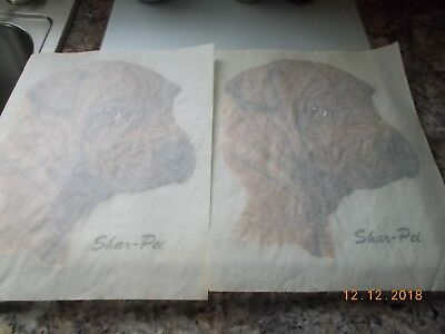 """2 Identical Iron-On Transfers Shar-Pei Dog Images, Measure Approx. 9"""" x 11"""""""