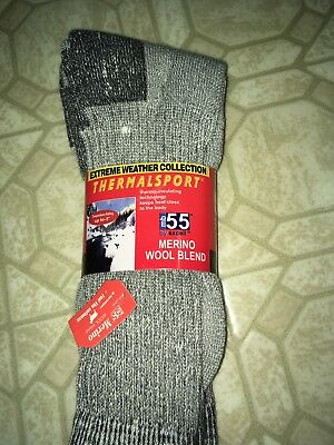 4 PAIRS THERMALSPORT BY EXCELL mb55 SOCKS  SIZE 10-13 GREY MERINO WOOL
