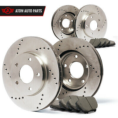 Front + Rear Rotors w/Ceramic Pads Drilled Brakes 2009 2010 2011 Audi A4 A5