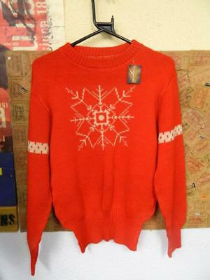 Vintage American 1950s Snowflake Jumper mans or womens christmas sweater XS-S