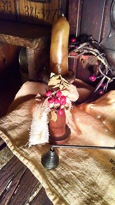 Primitive Antique Make Do Candle Holder + Wax Nub + Snuffer  Early Homestead