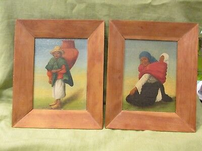 Pair of Antique Latin American Mexican Peru Signed Paintings Boy & Woman Baby