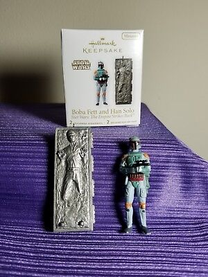 Star Wars Boba Fett & Han Solo  Esb  Hallmark Keepsake Miniature Ornament 2010