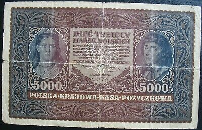 1920 Poland 5000 Marek Note (Torn)