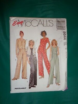 McCall's Sewing Pattern 8644 Misses Unlined Jacket & Jumpsuit Size 10-12-14