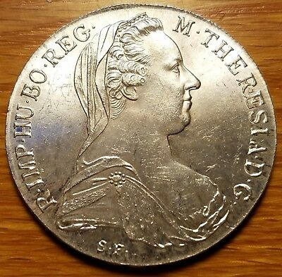 1780 Austria Maria Theresa Thaler Restrike Extra Fine Lightly Toned Silver Coin